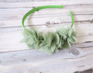 Baby headband, girl hair band, green baby head band, girl headband, green girl hair bow, girl hard headband, toddler headband