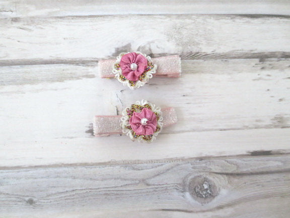 Pink Flower Baby Hair Clip - Toddler Hair Clip - Girl Hair Clip - Baby Barette - Girl Hair Bow - Baby Hair Bow Set