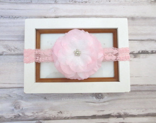 Pink Baby Headband,Baby Head band lace,Baby Hairbow, Baby Bow Headband,Toddler Headband,Infant Headband, Newborn headband, infant headband