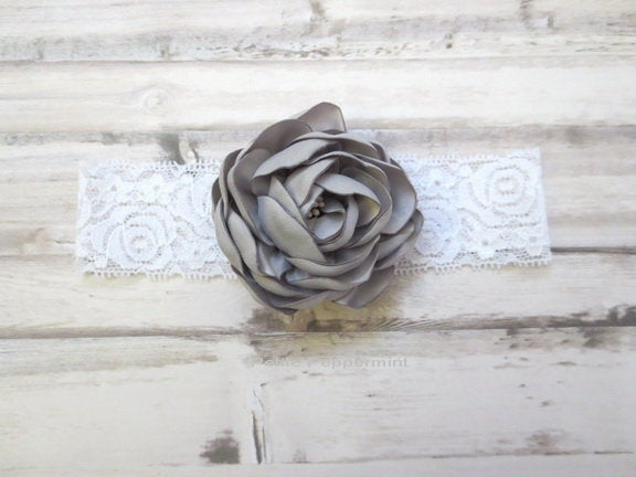 Gray Baby headband, baby girl headband, newborn headband, toddler headband, Baby Hair Bow, Baby Head Band, Baby headband lace