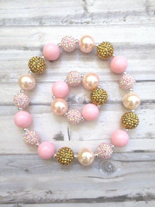 Pink gold baby necklace, baby chunky necklace, toddler necklace, girl bracelet, necklace for girls, chunky necklace for baby