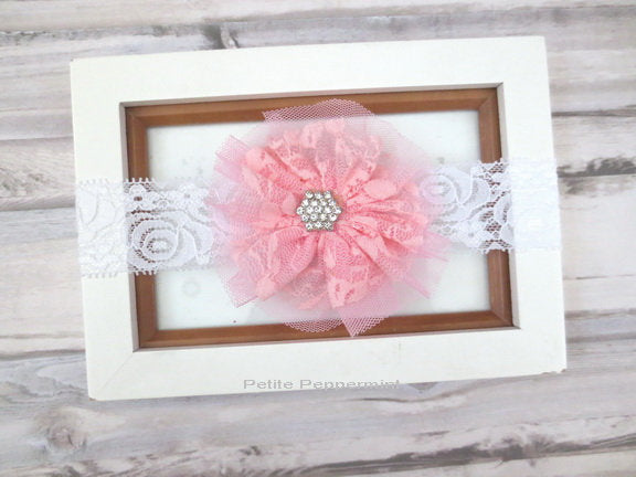 Pink Baby Headband, Baby headband flower, Newborn Headband, Toddler Headband, Baby head band lace, Pink baby hair bow