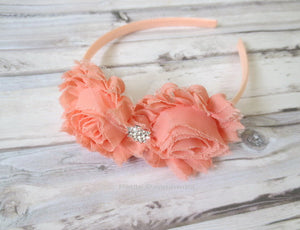 Peach Baby headband, baby girl headband, toddler headband, girl hairband, girl headband, toddler hard headband, girl hair bow