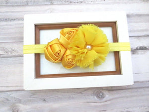 Yellow baby headband, baby flower headband, infant, newborn, toddler headband, yellow girl hair bow, baby head band