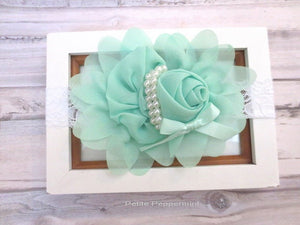 Baby Headband,Baby Flower Head Band,Baby Hair Bow,Newborn, baby girl headband, toddler hair bow, girl flower headband, Mint baby hair bow