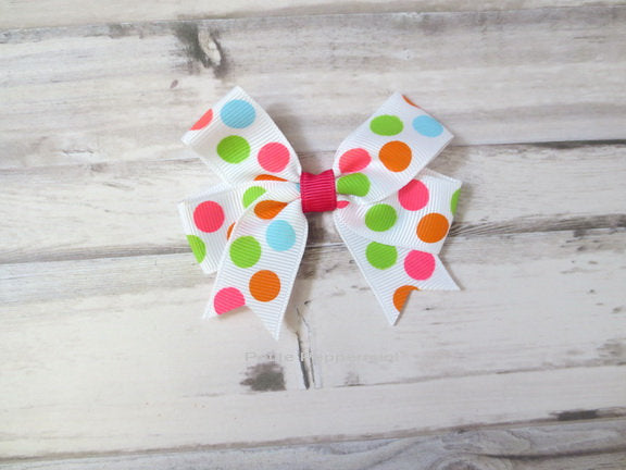 Baby Hair Clip, Toddler Hair Clip, Baby Bow Clip, Girl Hair Bow, Polka Dot Hair Bow, Toddler Hair Bow