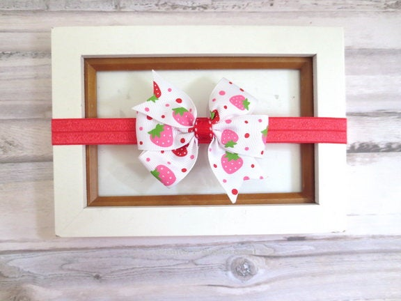 Baby head band,baby hair bow,strawberry bow headband,baby headband,baby girl headband,baby girl hair bow,baby bow headband,toddler headband