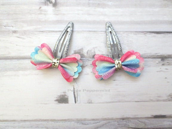 Baby hair clip, toddler hair clip, set of two bow hair clip, girl hair bow, girl hair clip, toddler snap clip