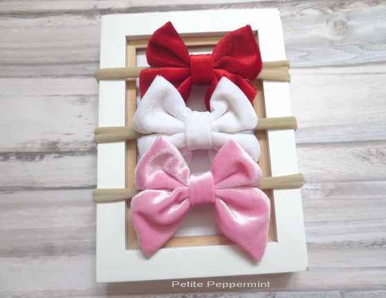 Baby Headband, Baby Hair Bow, Toddler Headband, Infant Headband, Baby nylon Headband, Newborn headband, velvet hair bow