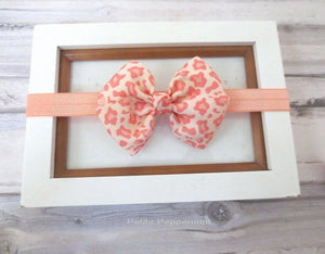 Peach Leopard Baby Headband bow, Newborn headband bow, Peach girl hair bow, toddler headband, infant headband, baby hair bow