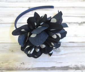Navy Blue Baby Headband,baby head band flower, girl hard headband, girl head band flower, toddler headband, girl hair bow