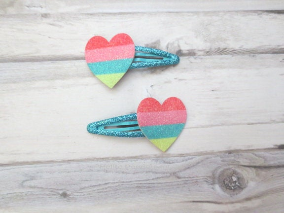 Baby hair clip, toddler hair clip, set of two rainbow heart hair clip, girl hair bow, girl hair clip, toddler snap clip