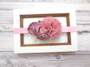 Mauve Baby Headband, Baby Head band Flower, Dusty Rose Headband, newborn headband, baby hair bow, infant headband, toddler headband