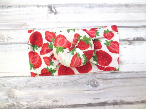 Strawberry Baby Headband, Baby Knot Headband, Top knot baby head band, baby turban, Baby headband nylon, baby head wrap