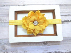 Yellow Baby headband, baby girl headband, newborn headband, toddler headband, Yellow baby flower headband, yellow baby hair bow