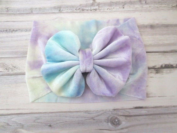 Tie Dye Baby Headband,Toddler Headband,Baby Head Wrap,Messy Bow Headband,Velvet Bow Baby Headband,Bow Knot Head band