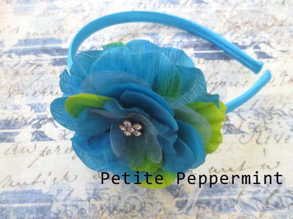 Baby headband, baby girl headband, toddler headband, big girl headband, toddler hard headband - Turquoise Flower Headband