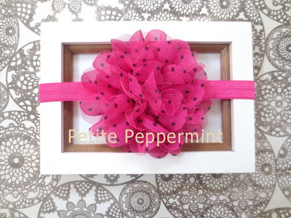 Baby headband, newborn headband, infant headband, toddler headband - Hot Pink Baby Flower Headband