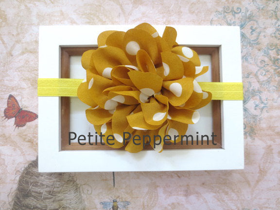 Baby Headband,Baby Bow Headband,Baby Head Band,Toddler Headband,Little Girl Headband,Infant Headband,Mustard Yellow Baby Flower Headband