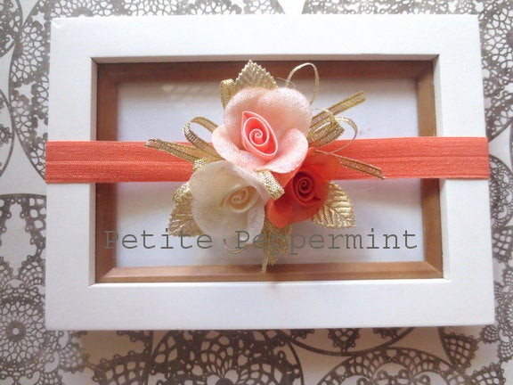 Orange baby headband, baby hairbow, baby flower headband, baby head band, toddler headband, infant headband