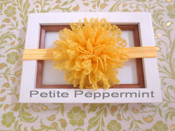 Yellow baby headband, baby head band flower, yellow baby hair bow, infant headband, toddler headband, girl hair bow, newborn headband