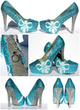 Tiffany Blue Wedding Shoes with pearl bows and crystal heels - Wicked Addiction
