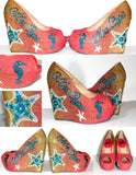 Wedge Wedding Shoes: Custom Ombre Peep Toe Beach Shoe