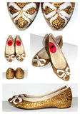Gold Crystal Ballet Flats with Pearl Bows