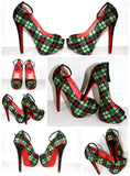 Crystal Plaid Heel: Scotland-Inspired Pumps