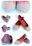 Swallow and Heart Crystal Ballet Flats
