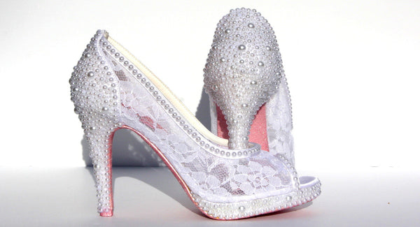 White Wedding Stiletto with Lace & Pearls - Wicked Addiction
