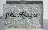 Personalized Silver Crystal Wedding Clutch - Wicked Addiction