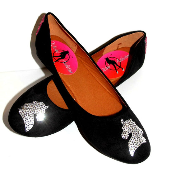 Horse/Cowboy Crystal Glitter Ballet Flats - Wicked Addiction