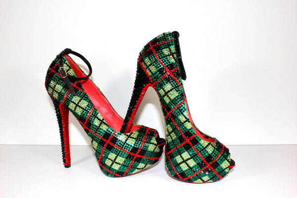 Crystal Plaid Heel: Scotland-Inspired Pumps - Wicked Addiction