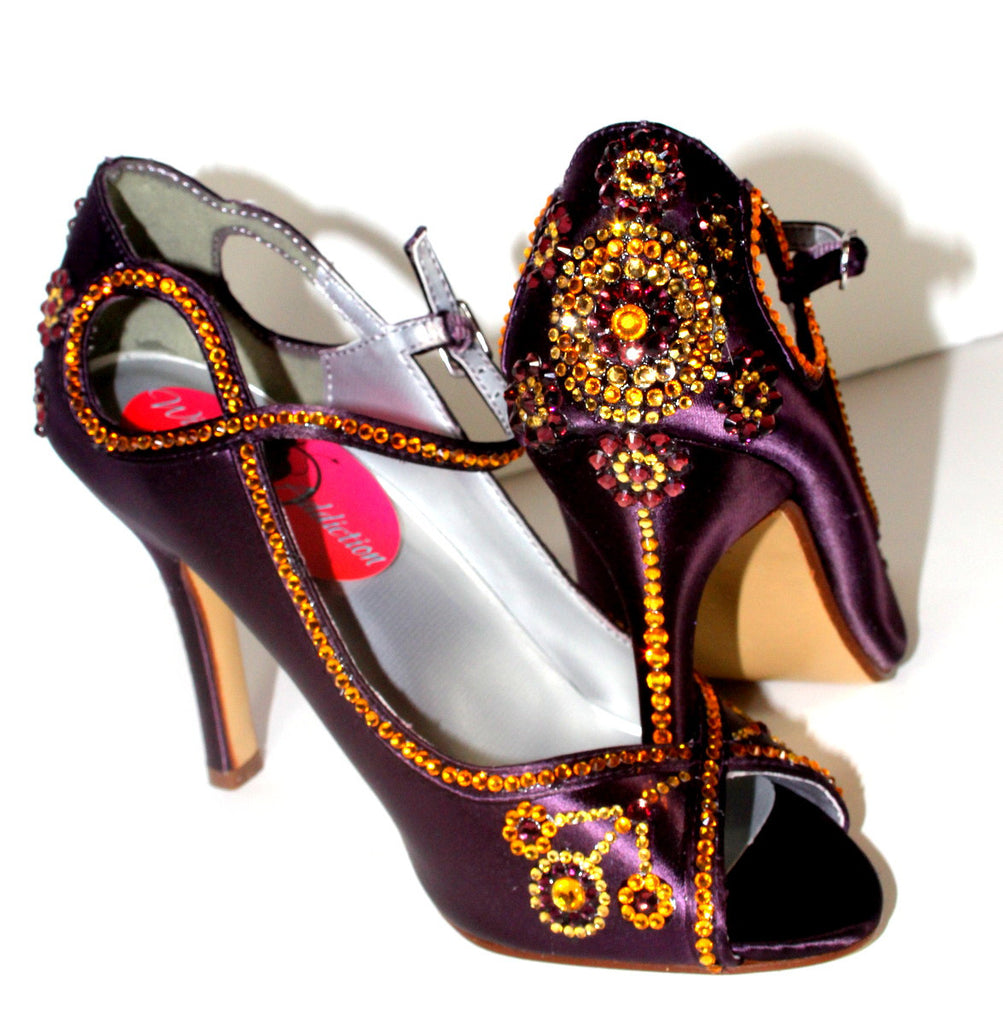 Gatsby 1920's Purple Satin Crystal Heel - Wicked Addiction