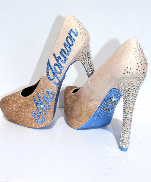 Custom White Gold Ombre Wedding/Prom Shoe - Wicked Addiction
