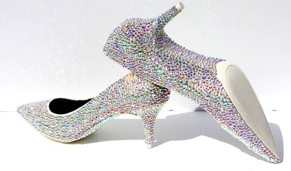 Crystal AB Kitten Heels: Low Heel Wedding Shoes - Wicked Addiction