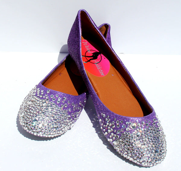 Crystal Ballet Flats: Glitter Ombre Purple - Wicked Addiction