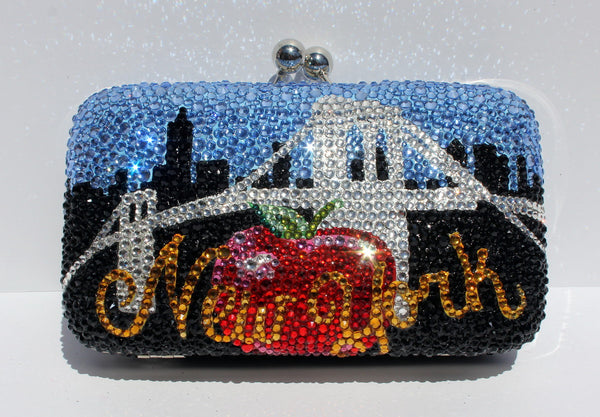 Crystal New York Purse: Clutch with Famous NY Icons