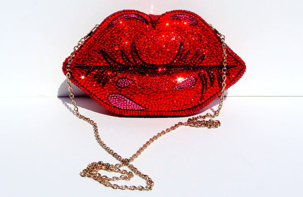 Pop Art Red Lips Crystal Clutch