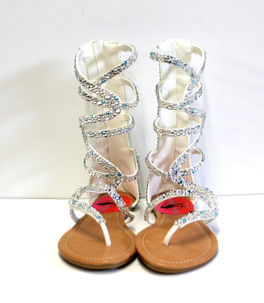 Silver Crystal Gladiator Sandal - Wicked Addiction