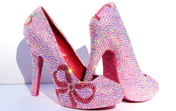"""I Do"" AB Crystal Wedding Heel with Rose Bow - Wicked Addiction"