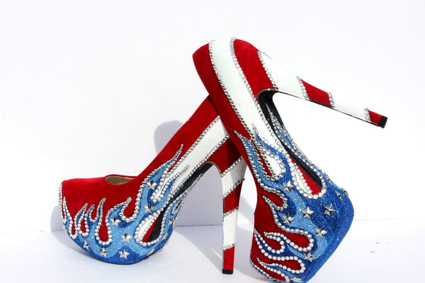Patriotic American Flag Heels - Wicked Addiction
