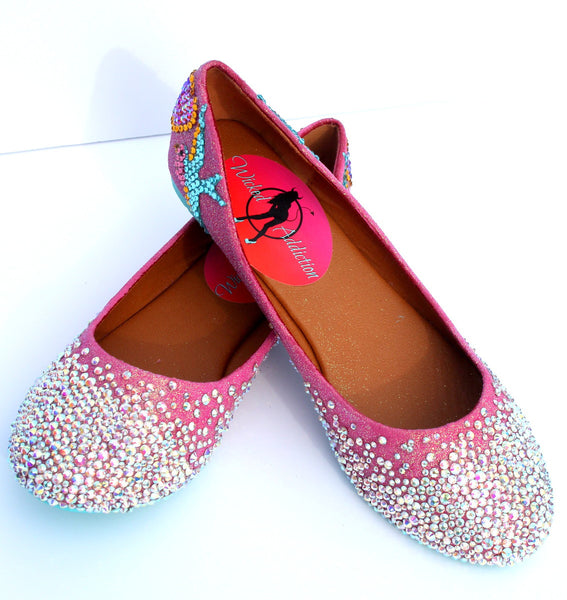 Swallow and Heart Crystal Ballet Flats - Wicked Addiction
