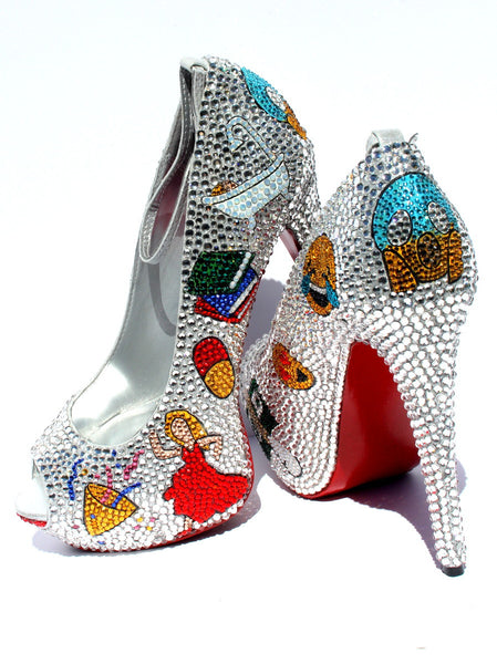 Swarovski Crystal Emoji Peep Toe Heels - Wicked Addiction