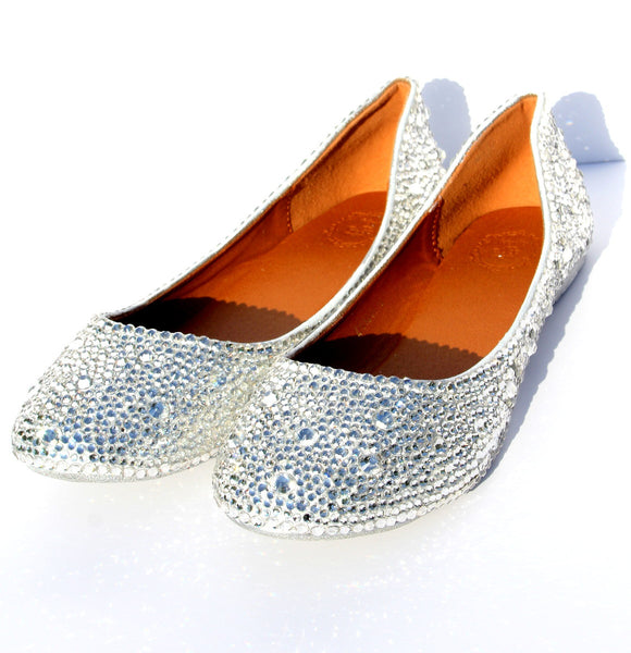 Sparkling Crystal Bridal Ballet Flats - Wicked Addiction