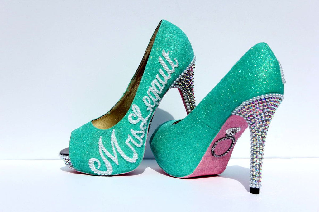 Mint & Pink Wedding Shoe with Silver Swarovski Crystals