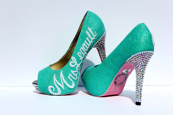 Mint & Pink Wedding Shoe with Silver Swarovski Crystals - Wicked Addiction