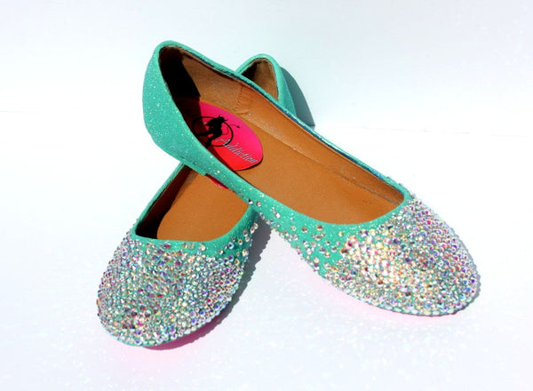 Mint Crystal Ballet Bridal Flats - Wicked Addiction