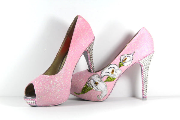 Crystal Cala Lilly & Pink Glitter Heels with Silver Soles - Wicked Addiction